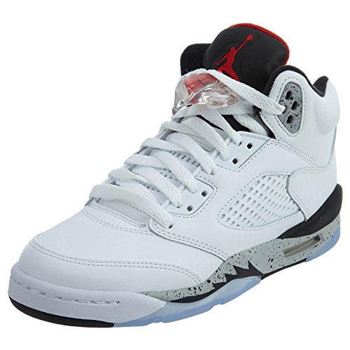 Jordan Air 5 Retro BG White Cement Kids Casual Sneakers - 6.5 by Jordan