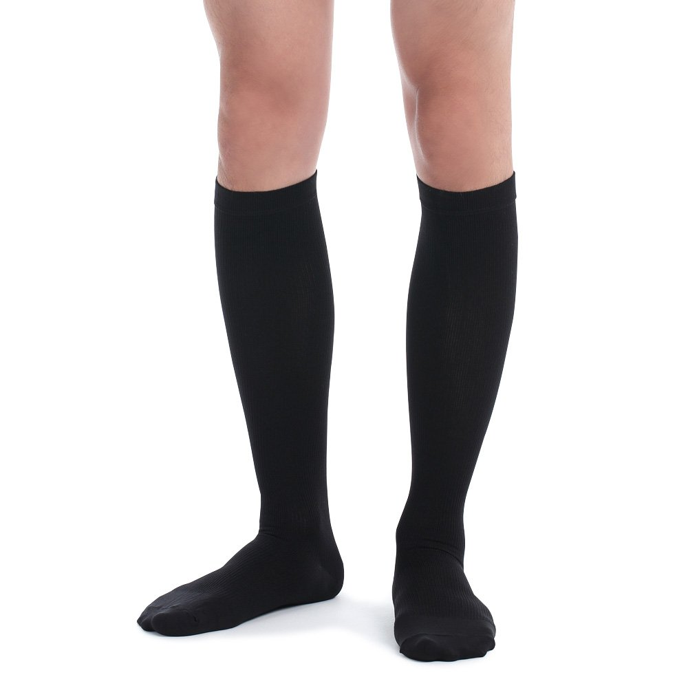Fytto 1067 Compression Socks Men 15-20mmHg, Graduated Support Hose for Varicose-Veins, Travel, Knee High, Black, Medium