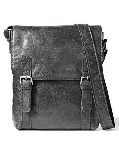 Leather Architect Men's 100% Leather Cross Over Messenger Bag Black