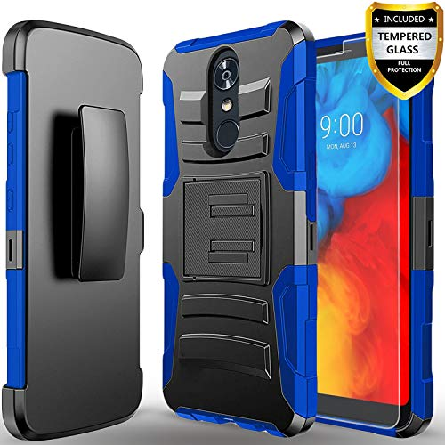 Revvl 2 Phone Case,(T-Mobile) Case, with [Tempered Glass Screen Protector] Heavy Duty Drop Protection [Combo Holster] Rugged Belt Clip Phone Cover with Built-in Kickstand and Stylus Pen-Blue