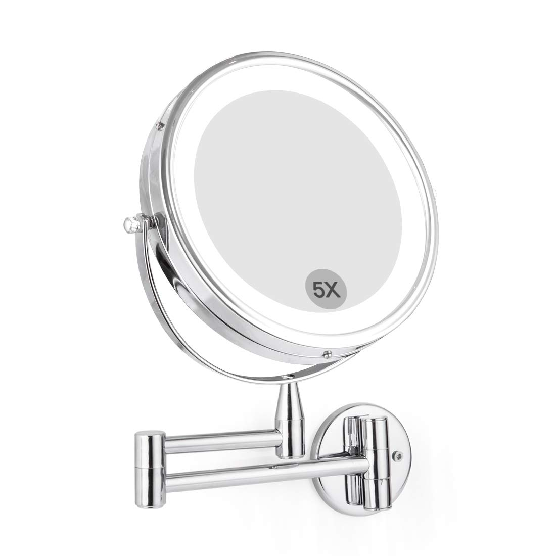 "Wall Mounted LED Magnifying Mirror 5X Makeup 8"" Lighted Double Side 360 Degree Vanity Magnification Swivel Extendable Mirror"