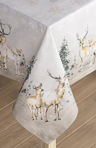 """Maison d' Hermine Deer in The Woods 100% Cotton Tablecloth for Kitchen Dinning Tabletop Decoration Parties Weddings Thanksgiving Christmas (Rectangle, 60 Inch by 108 Inch) - Designed in Europe 100% Cotton & Machine washable. Package Includes : 1 Tablecloth Our collections are featured in Elle Decor and House Beautiful for """"Best Thanksgiving Tablecloth"""". - tablecloths, kitchen-dining-room-table-linens, kitchen-dining-room - 51 npIFJNqL -"""