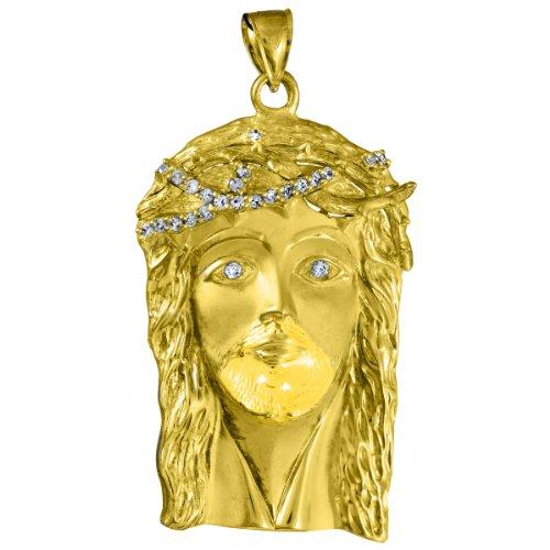 10 ct 471/1000 Or Jaune Jesus Gesicht -out Oxyde de Zirconium Pendentif (XL) Pendentif