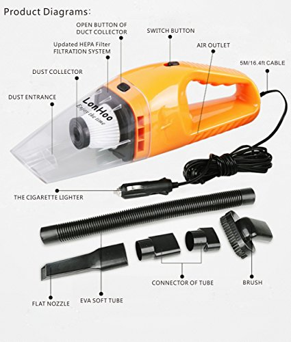 LonHoo 2 Pack Car Vacuum Cleaner High Power, DC 12V ,120W Portable Lightweight Wet & Dry Auto Handheld Vacuum Cleaner with 16.4 FT(5M) Power Cord (Orange x 1 Blue x 1) by LonHoo (Image #1)