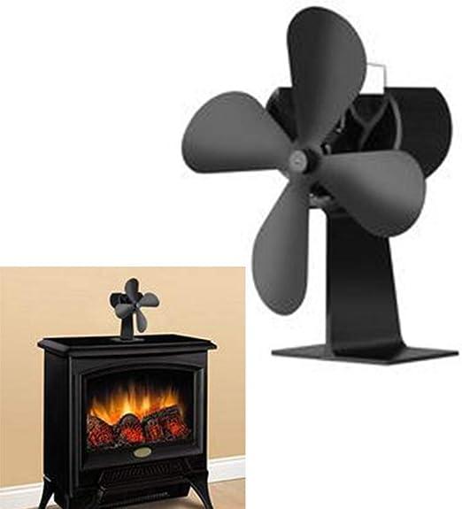 Ventilador de estufa de 4 palas alimentado por calor Quemador de leña / leña /chimenea aumenta más