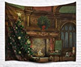 A.Monamour Christmas Holiday Theme Indoor Room Decoration Fireplace Xmas Tree Print Fabric Tapestry Wall Hanging Decoration for Living Room Wall 153x203cm/60''x80''