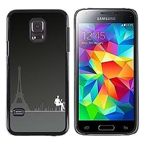 TECHCASE**Cubierta de la caja de protección la piel dura para el ** Samsung Galaxy S5 Mini, SM-G800, NOT S5 REGULAR! ** Paris Cafe Art Eiffel Tower City Coffee Painting