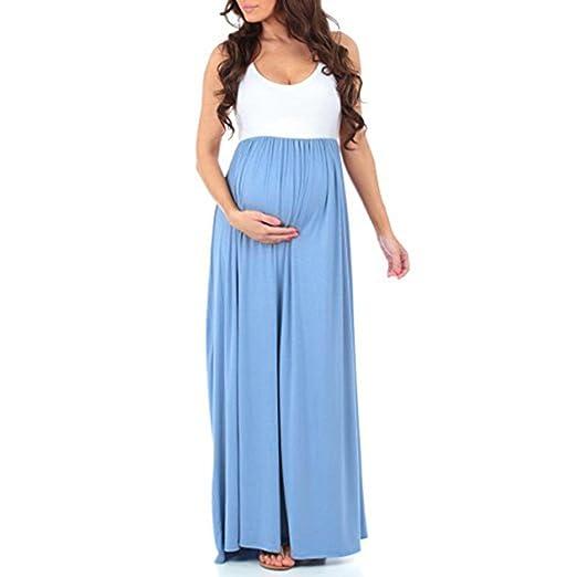 JYC Vestidos Largos, Vestidos Mujer Verano 2018 Mujer Rayado largo Bohemia Vestido, De las mujeres Sin mangas Embarazada Fruncido Maxi Maternidad Vestir ...