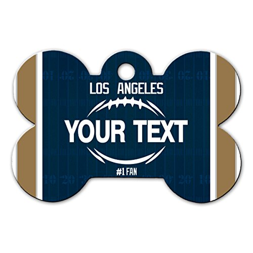BleuReign(TM) Personalized Custom Name Football Los Angeles License Plate Bone Shaped Metal Pet ID Tag with Contact Information