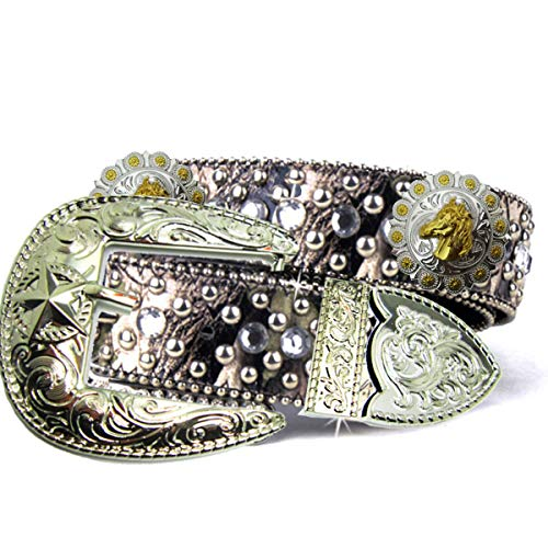 Green CAMO Fabric Bling Rhinestone Nail Studded Golden and Silver Conchos Cowgirl Camouflage Clear Crystal Belt for Women (Horse Head)
