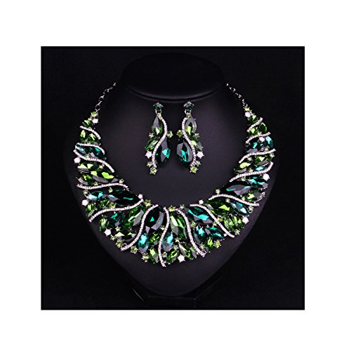 (Hamer Bridal Link Costume Jewelry Crystal Choker Pendant Bib Statement Chain Charm Necklace and Earrings Sets (Green))