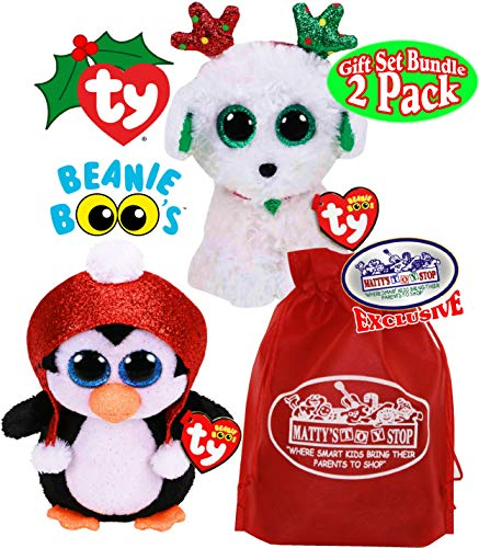 TY Beanie Boos Gale (Penguin) & Sugar (Dog) Holiday Christmas 2019 Gift Set Bundle with Bonus Matty's Toy Stop Storage Bag - 2 Pack (Beanie Baby Dog Set)
