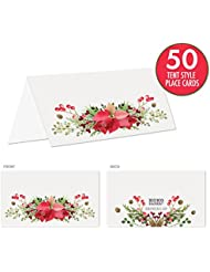 rustic christmas place cards with poinsettia holly pine cones and winter florals pack of 50 tent style cards for holiday dinner brunch party