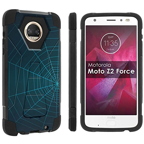 [POPCulture] Rugged Case For [Moto Z2 Force] [Moto Z2 Play] [Black/Black] Military Armor Case [KickStand] - [Spider Web] Print Design