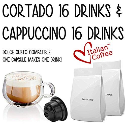Nescafe Dolce Gusto compatible pods, Italian Coffee capsules (16Cappuccino/16Cortado, 32 - Italian Milk Vanilla
