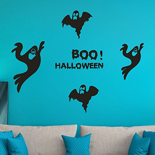 OTTATAT Wall Stickers for Kids 2019,Happy Halloween Witch Bats Window Home Decoration Decal Decor Easy to Peel Honeymoon Gifts Holiday Gift for Lover Free Deliver Clearance -