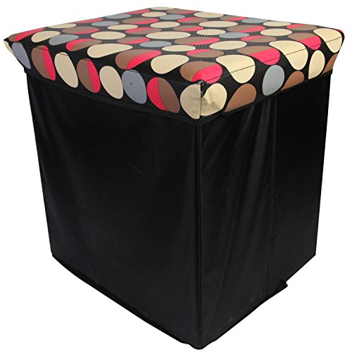 Clearance! LOHAS Home® Storage Ottoman,Collapsible Storage Bench Seat, Lidded Foldable Storage Seating, Foot Rest Coffee Table, Foldable Storage Bin, Red Dots