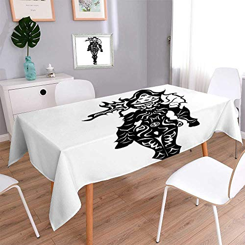(Indoor and Outdoor Tablecloth Illustration of a Woman Demon Hunter in Black and White Battle Fantasy War Stain Resistant, Washable, Liquid Spills Bead up 52