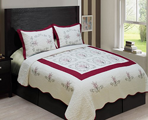 LuxuryDiscounts Embroidered Bedspread Coverlet Burgundy product image