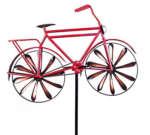 Red Metal Bicycle Kinetic Garden Stake - Kinetic Metal Sculpture