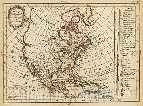 - Historic Map | Amerique Septentrionle. divisee en SES principaux etats. A Paris, Chez Delamarche, Geo, 1783. (ca. 1800), 1800 Atlas | Vintage Wall Art | 60in x 44in