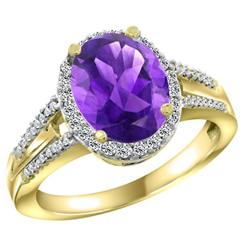 10K Yellow Gold Diamond Genuine Amethyst Engagement Ring Oval 10x8mm size 7.5 -