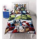 Marvel Avengers Childrens Boys Shield Reversible Duvet Cover Bedding Set (Twin Bed) (Multicoloured)