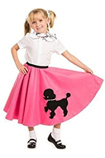 Poodle Skirt With Musical Note Printed Scarf Hot Pink By Kidcostumes