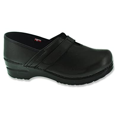 Sanita Womens Black Leather Clogs Comanche Mules