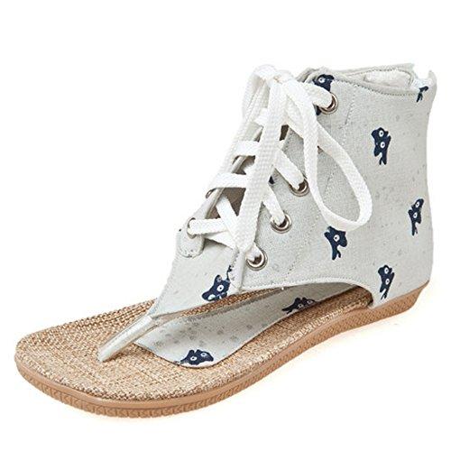Femmes Lacets Plat Ete Clip Sandales 764 Chaussures Toe Mode Beige TAOFFEN Bottillons 6wqHB7