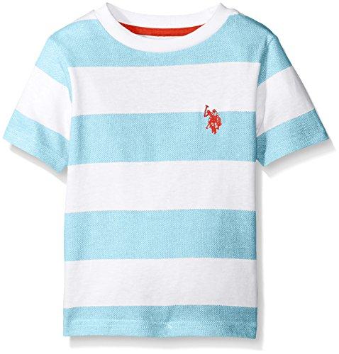 U.S. Polo Assn. Little Boys' Birdseye Printed Stripe Crew Neck T-Shirt, Flip Flop Blue, (Boys Printed Flip Flops)