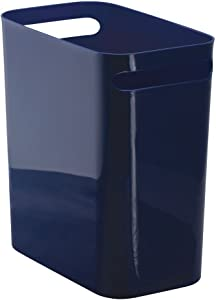 iDesign Una Rectangular Trash Can with Handles, Waste Basket Garbage Can for Bathroom, Bedroom, Home Office, Dorm, College, 12-Inch, Navy Blue
