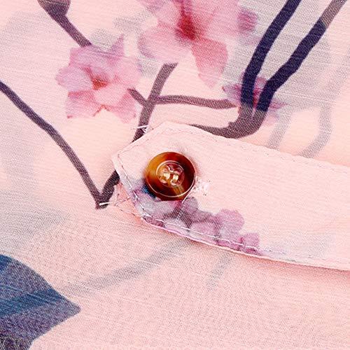 Grande T Sexy Soie Impresssion 5XL Automne Mousseline Blouse Printemps Casual Manches Taille Shirt Tops de Loose Longues Blouses en Solike Chic Floral Femme Orange S dRqIIwz