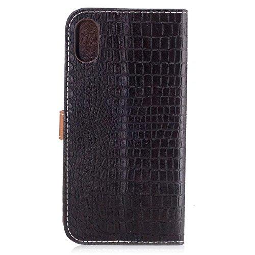 LEMORRY Apple iPhone X / iPhone Ten 10 Hülle Tasche Ledertasche Flip Beutel Haut Slim Bumper Schutz Magnetisch SchutzHülle mit Kartenschlitz Weich Silikon Cover Schale für iPhone X, Geschäftsstil (Sch Dunkelbraun