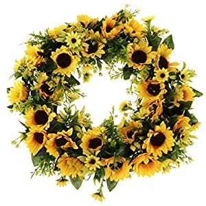 Prettyia Artificial Rattan Sunflower Wreath, Flower Wreath for Front Door, Wall Hanging Decor, Flower Garland for Home, Wedding & Festival Ornaments 45