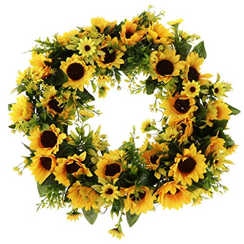 Prettyia Artificial Rattan Sunflower Wreath, Flower Wreath for Front Door, Wall Hanging Decor, Flower Garland for Home, Wedding & Festival Ornaments