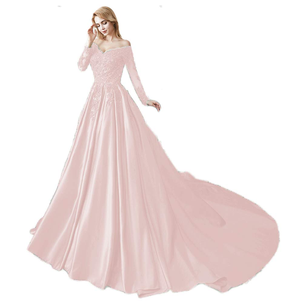 Pink Miao Duo Women's Long Sleeves V Neck Beaded Wedding Prom Dresses Off Shoulder Formal Ball Gown 86pM