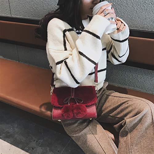 Cuero Pequeño Tamaño Winter Pu Vino 21 Vino Rojo Hairy Wine color Red Bag A 17cm Lady Messenger De New Cuadrado Flip Color Shang Bolso 8 O7B0w0