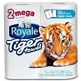 Royale Tiger Towel Paper Towels, Handy Half Sheets, 2 Mega Rolls