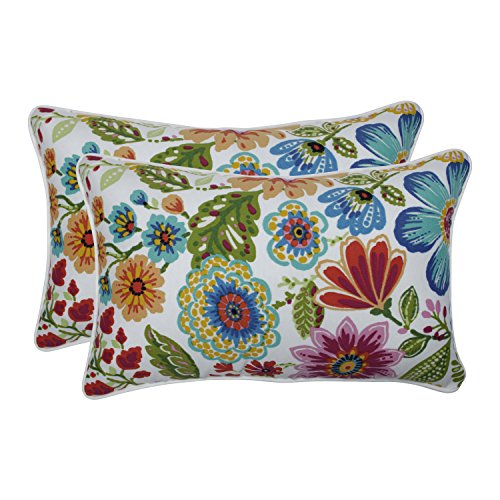 Pillow Perfect Outdoor | Indoor Gregoire Prima Rectangular Throw Pillow (Set of 2), Blue