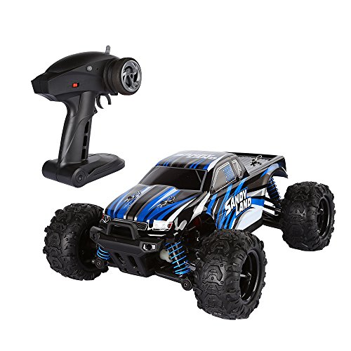 SainSmart Jr. 2.4Ghz RC Rock Monster Truck, High Speed 30MPH Racing Buggy Hobby, 1/18 Full Scale 4WD Powerful Electric Car, Blue