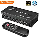 4K HDMI Switch-5x1 4K 60Hz HDMI Switch Box with IR Remote,High Speed (Max to 18.5Gbps) & Auto Switch, Support【4K/Ultra HD/3D/1080P】24k Gold Plated Ports,HDMI Splitter for TV/PC/Blu-Ray Player/DVD/Xbox