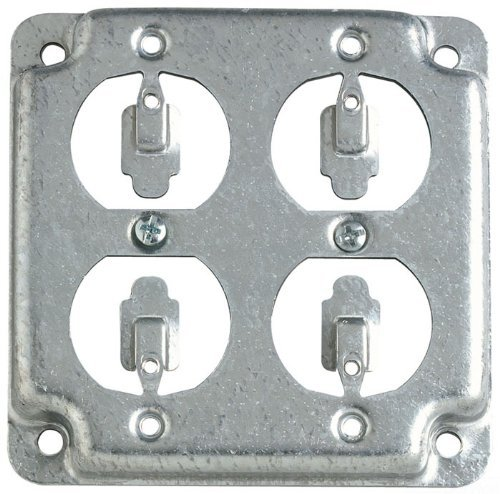 Quad Works Power Box - Steel City RS8 Outlet Box Surface Cover, Square, Raised, 4-Inch, Galvanized