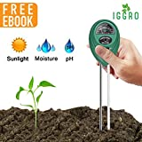 3 in 1 Garden Soil pH Tester Plant Moisture Meter with pH Alkalinity Acidity, Sunlight Level, and Dual 7 inch Probe Aluminum and Copper for Indoor Outdoor Gardening - Ebook Included