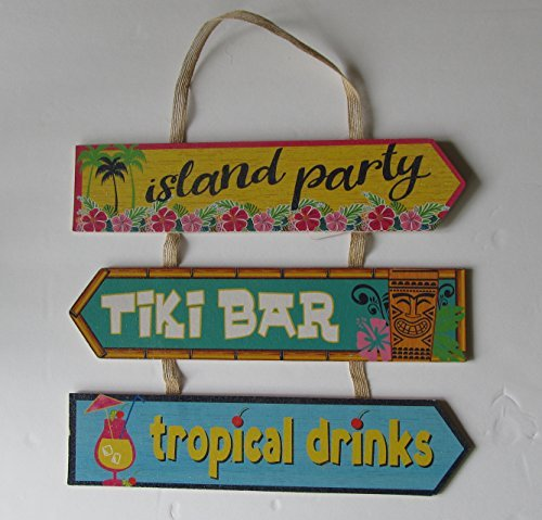 Tropical Tiki Wood - Island Time Tiki Bar Party Wooden Sign