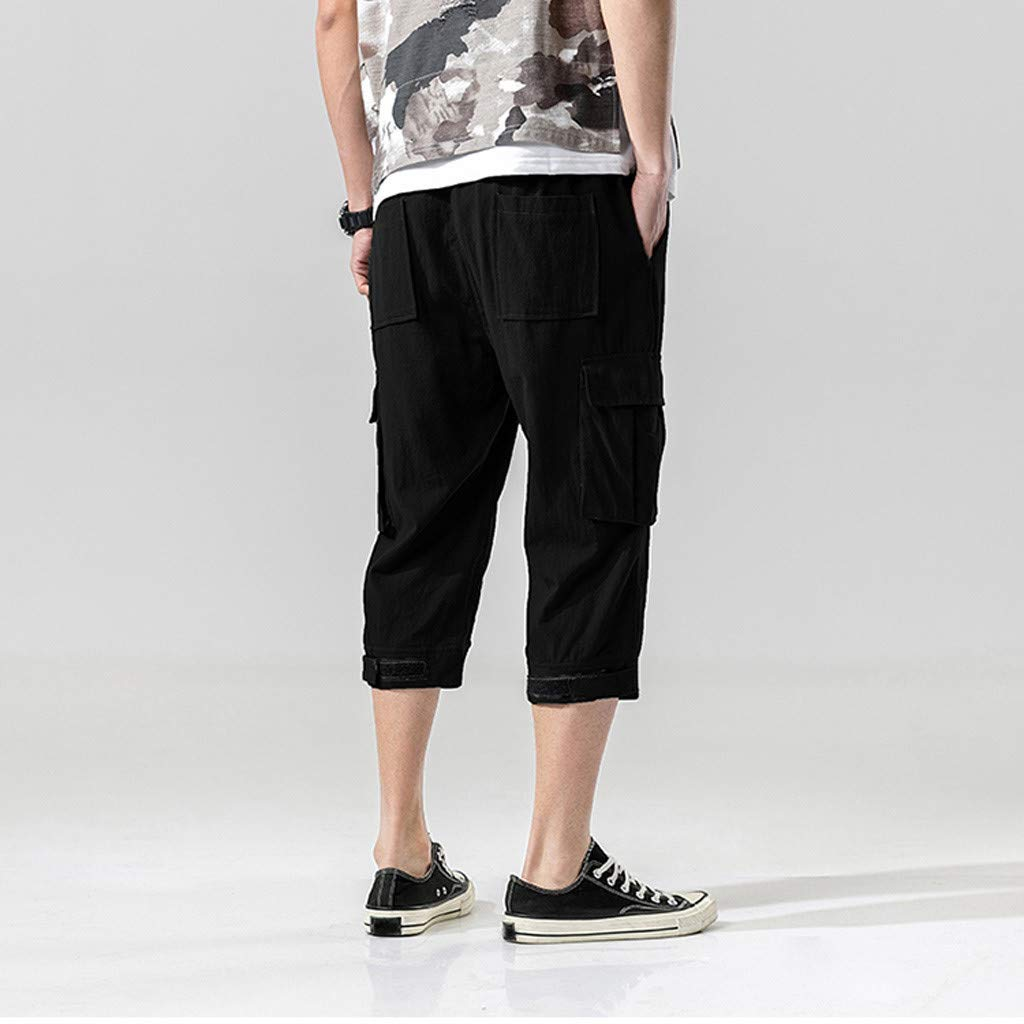 Bsjmlxg Mens Hot Fashion Summer Simple Casual Classic Fit Sport Daily Pocket Solid Drawstring Cotton Short Pants Trousers