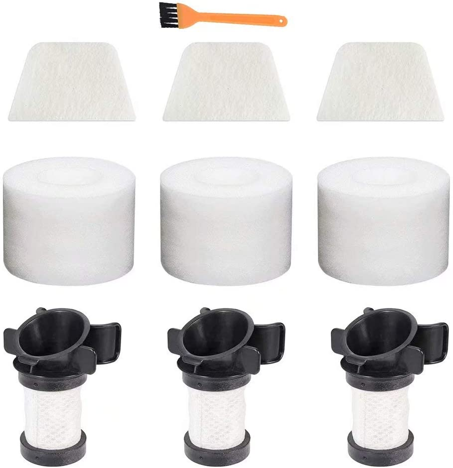 Replacement Filters for Shark ION Flex DuoClean X30 X40 F60 F80 IF200 IF201 IF205 IF251 IF252 IF281 IF282 IF285 UF280 IC205 IR70 IR100 IR101 (3 Filters, 3 Set of Foams & Felt Filters, 1 Dust Brush)