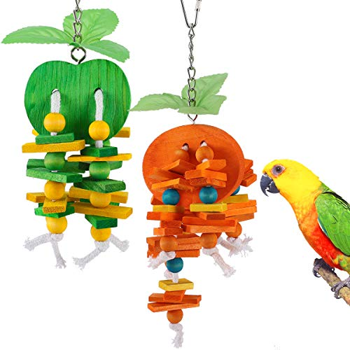 MEWTOGO 2 Pack Natural Wood Block Parrot Chew Toys- Orange&Apple Shaped Hanging Cage Chewing Foraging Toy for Eclectus Budgies Parakeet Cockatiel Conure Lovebirds Small&Medium Birds
