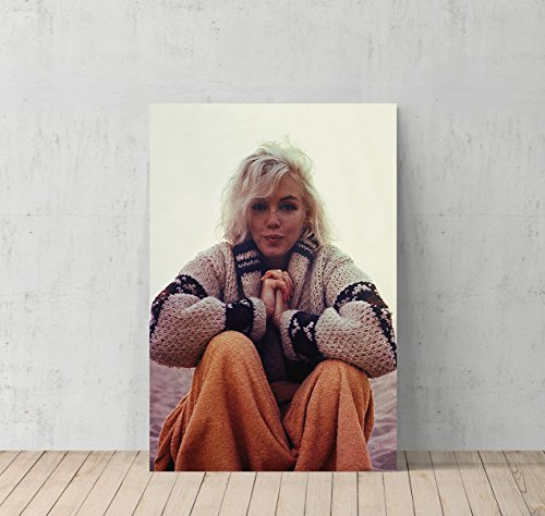 Marilyn Monroe at the Beach in Cardigan Canvas Print Decorative Art Modern Wall Décor Artwork Wrapped Wood Stretcher Bars - Ready to Hang - %100 Handmade in the USA (7 Year Anniversary Gift Modern)