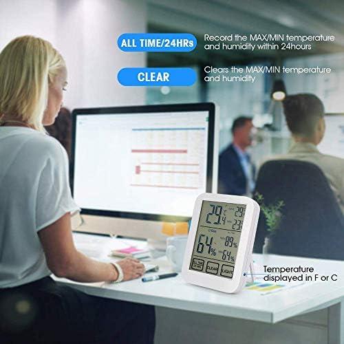 PQZATX Digital Hygrometer Thermometer Gro? Bild- und Nacht Licht Genaues Temperatur Feuchtigkeits Monitor Mess Instrument für Innen Ministerium